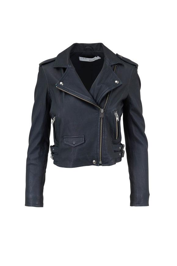 IRO Ashville Gray Denim Leather Moto Jacket