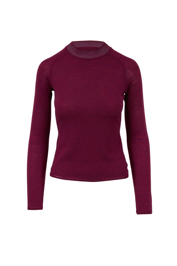 Rag & Bone Pamela Magenta Merino Wool Sweater