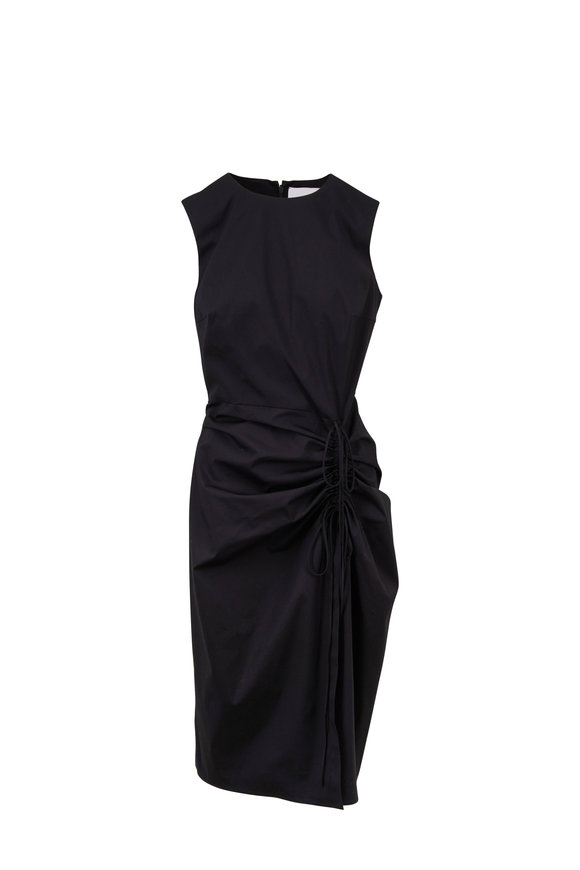 Carolina Herrera Black Poplin Ruched Sleeveless Dress