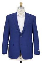 Canali - Blue Micro Plaid Wool Suit