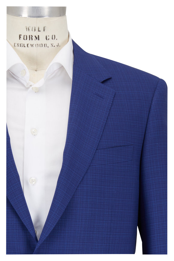 Canali Blue Micro Plaid Wool Suit