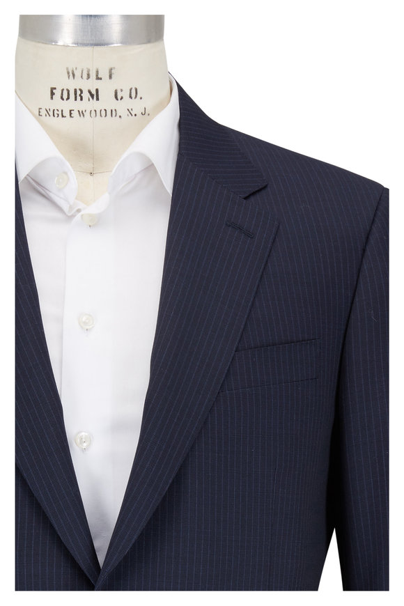 Canali Navy Blue Pinstriped Wool Suit