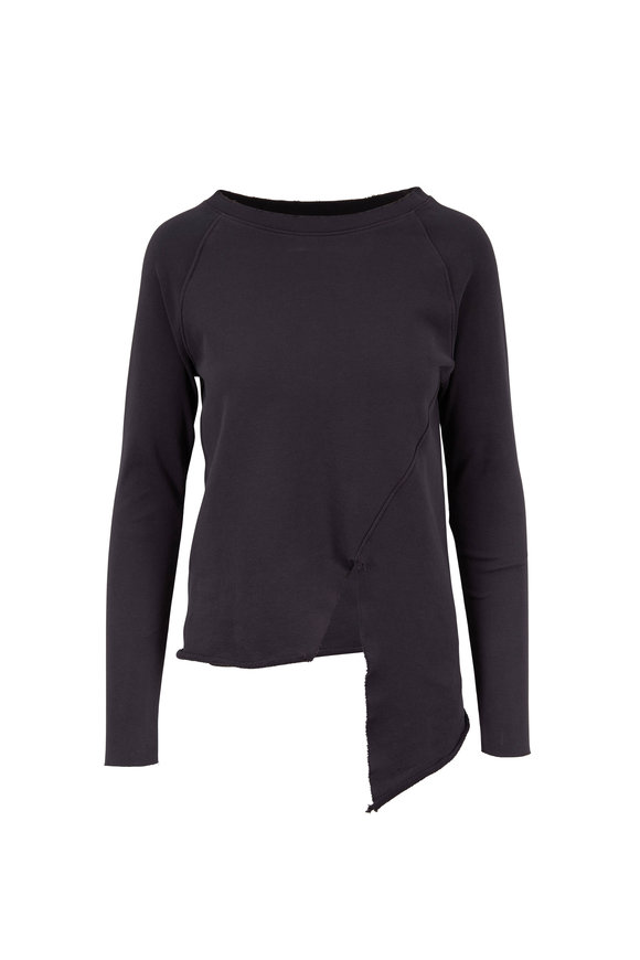 Frank & Eileen Carbon Cotton Distressed Asymmetric Hem Sweatshirt