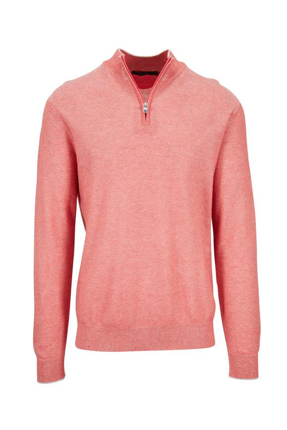 Raffi  Coral Piqué Quarter-Zip Pullover