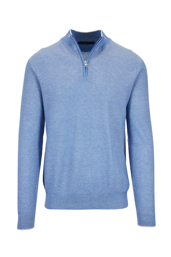Raffi  Royal Blue Piqué Quarter-Zip Pullover