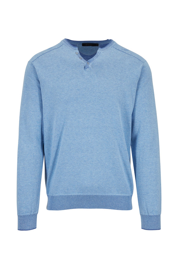 Raffi  Lake Blue Cotton V-Neck Henley