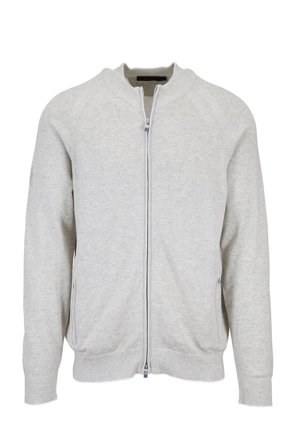 Raffi  Light Gray Cotton Full Zip Sweater