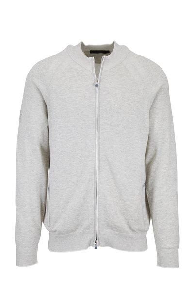 Raffi - Light Gray Cotton Full Zip Sweater