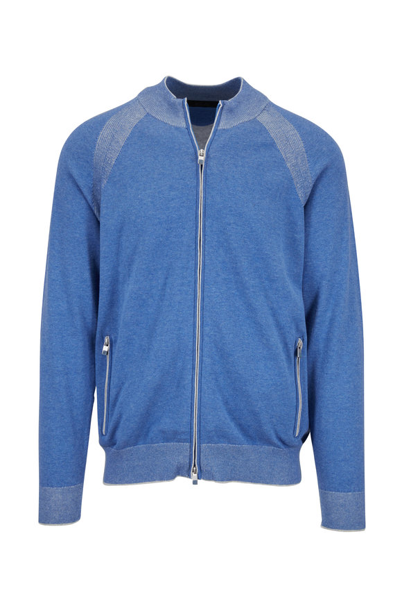 Raffi  Royal Blue Cotton Full Zip Sweater