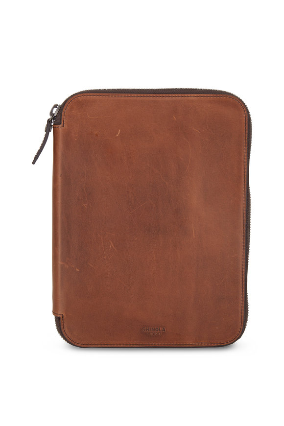 Shinola Medium Brown Leather Tech Portfolio