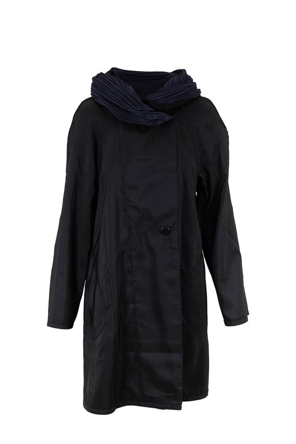 Fleurette Black & Navy Nylon Plisse Hood Reversible Raincoat