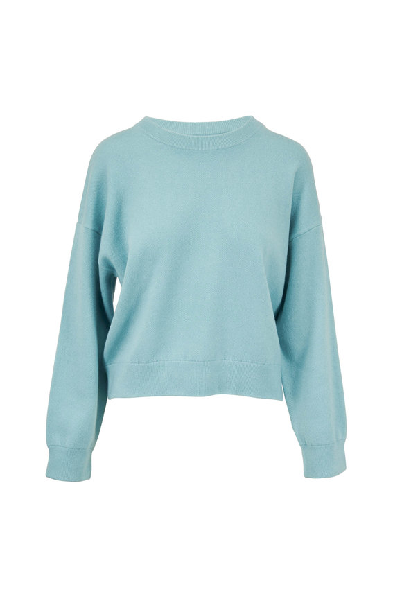 Vince Light Aqua Double Layer Crewneck Sweater