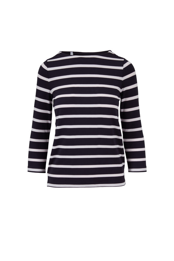 Bogner Jaime Navy & Blush Striped Top