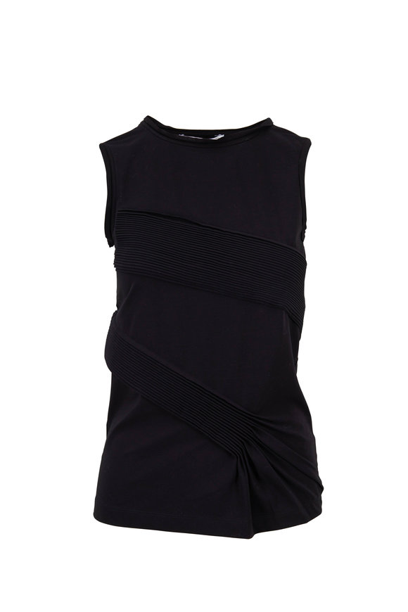 Helmut Lang Black Stretch Cotton Pleated Tank
