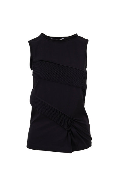 Helmut Lang - Black Stretch Cotton Pleated Tank