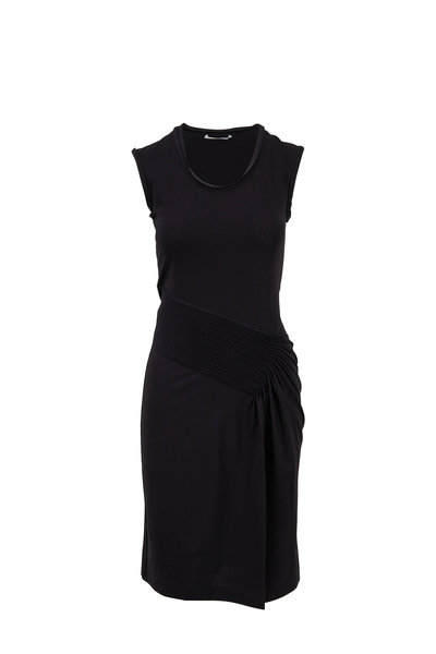 Helmut Lang - Black Pleated Jersey Dress
