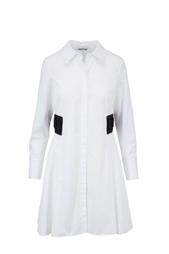 Partow Devyn White Poplin Elastic Side Tab Shirtdress