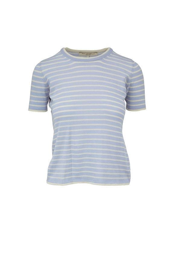 Rani Arabella Light Blue & Ivory Striped Wool & Cashmere T-Shirt