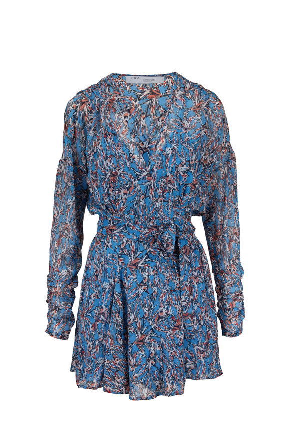 IRO Bustle Blue Printed Wrap Dress