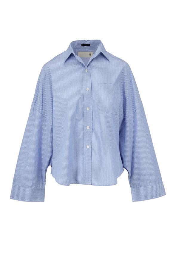 R13 Oversized Light Blue Striped Cotton Shirt