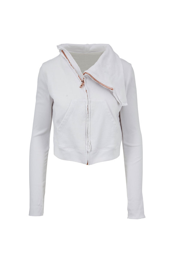 Frank & Eileen Dirty White Fleece Asymmetric Zip Jacket