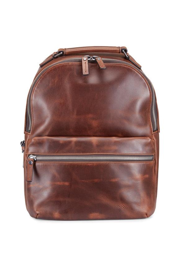 Shinola Runwell Medium Brown Leather Backpack
