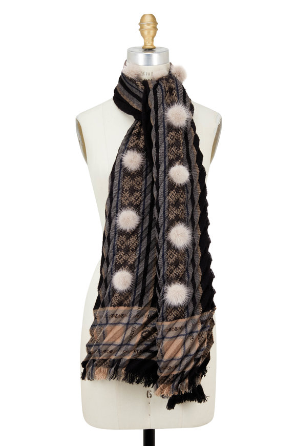 Viktoria Stass Black & Beige Mink Pom Pom Pleated Shawl