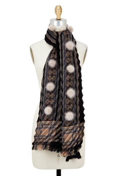 Viktoria Stass - Black & Beige Mink Pom Pom Pleated Shawl