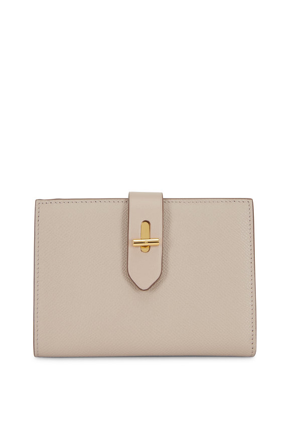 Tom Ford Tara Taupe Grained Leather Fold-Over Wallet
