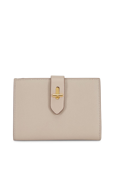 Tom Ford - Tara Taupe Grained Leather Fold-Over Wallet