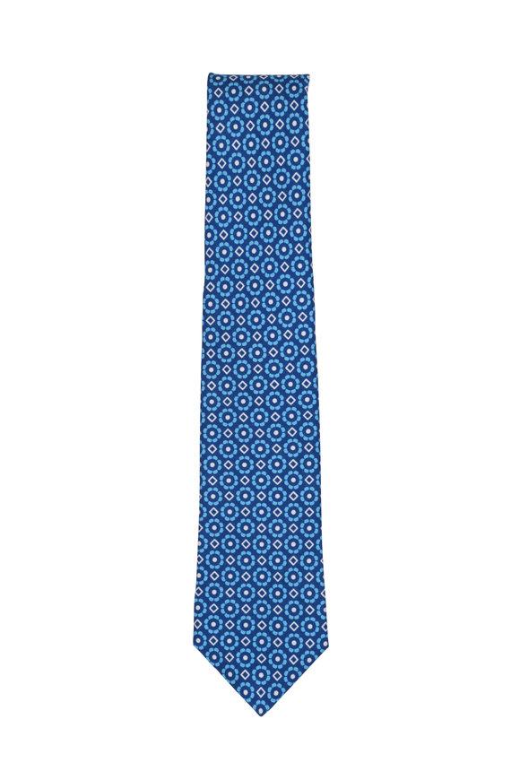 Kiton Blue Diamond Floral Silk Necktie