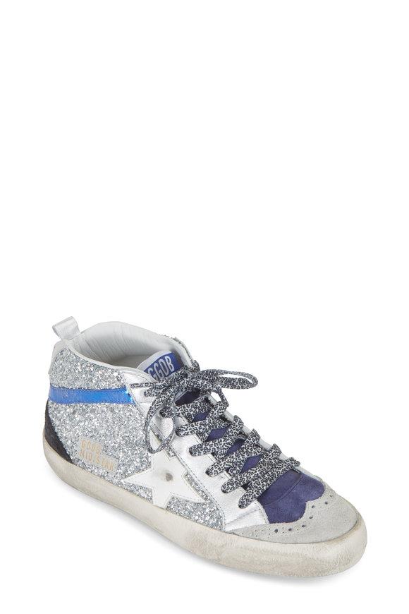 Golden Goose Mid Star Silver Glitter White Star Sneaker