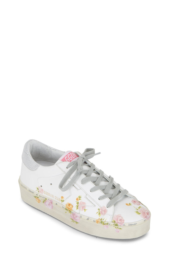 Golden Goose Hi Star White Leather Floral Print Sneaker