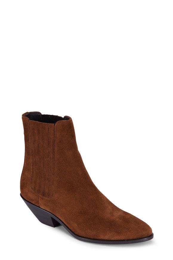 Saint Laurent West Tan Suede Ankle Boot, 45MM