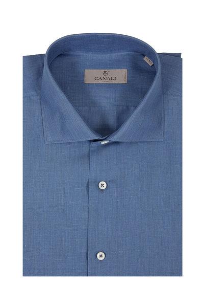 Canali - Solid Blue Linen Blend Dress Shirt