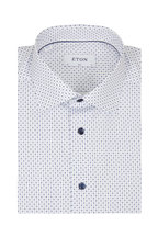 Eton - Navy Blue Micro Diamond Slim Fit Dress Shirt