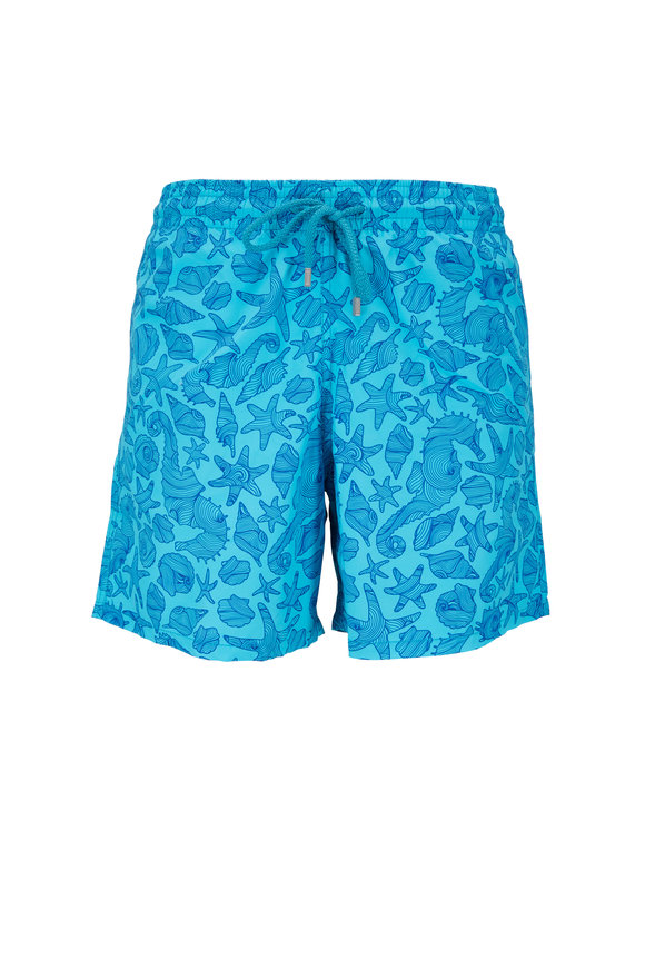 Vilebrequin Moorea Blue Seashells Swim Trunks