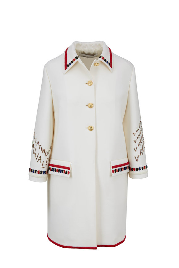 Valentino Ivory Double Crêpe Wool Embroidered Coat