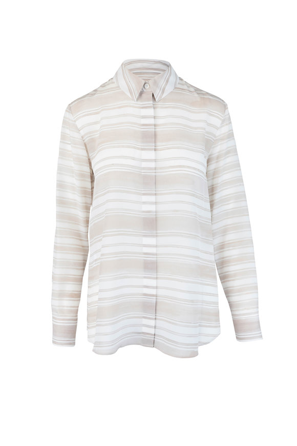 Altuzarra Oat & Cream Striped Silk Blouse
