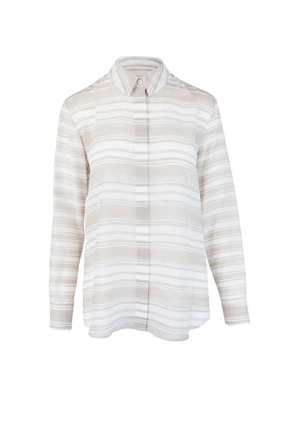 Altuzarra Oat & Cream Striped Silk Blouse