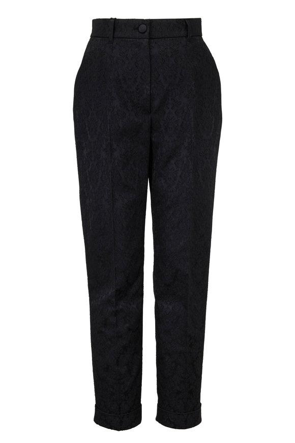 Dolce & Gabbana Black Jacquard Front Pleat Pant