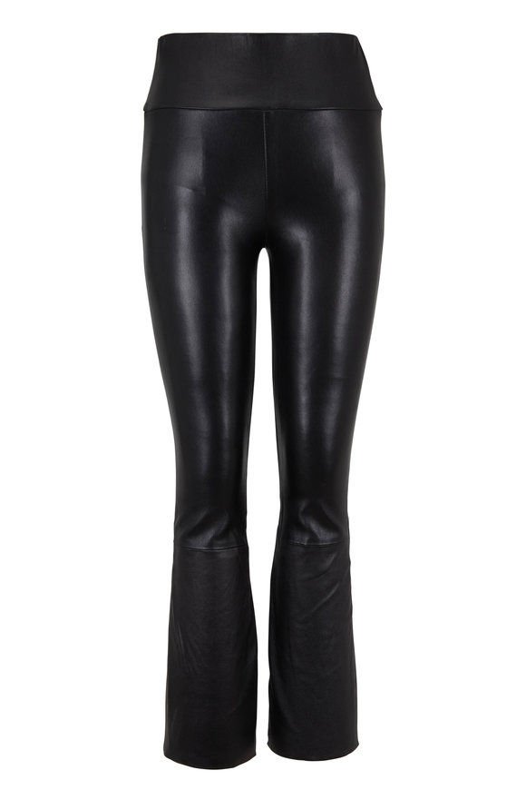 SPRWMN LLC Black Crop Kick Flare Leather Legging