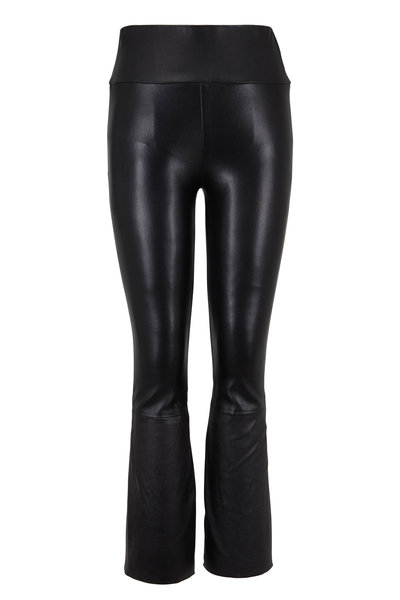 SPRWMN LLC - Black Crop Kick Flare Leather Legging