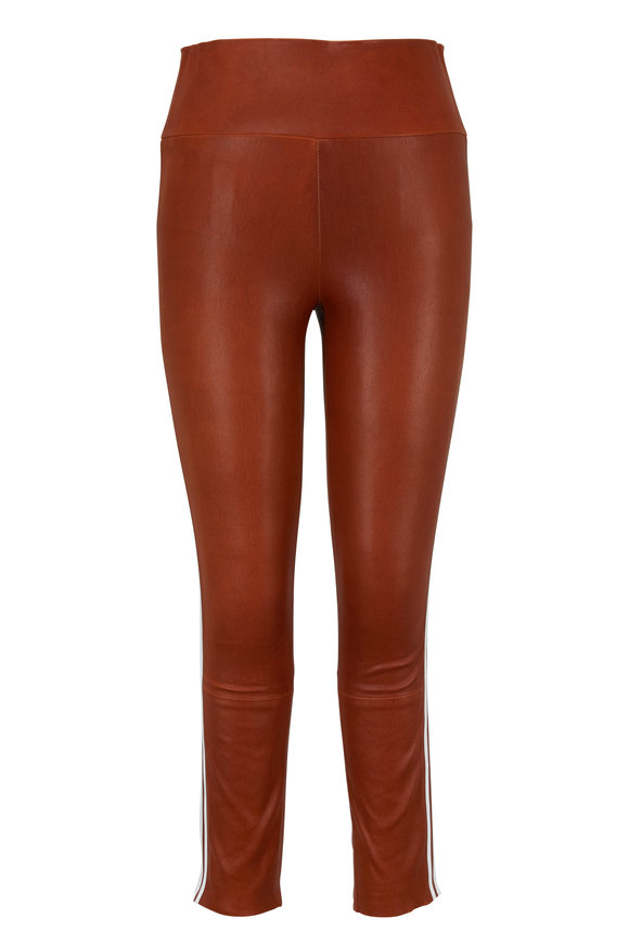 SPRWMN LLC Cognac Athletic Striped Capri Leather Legging