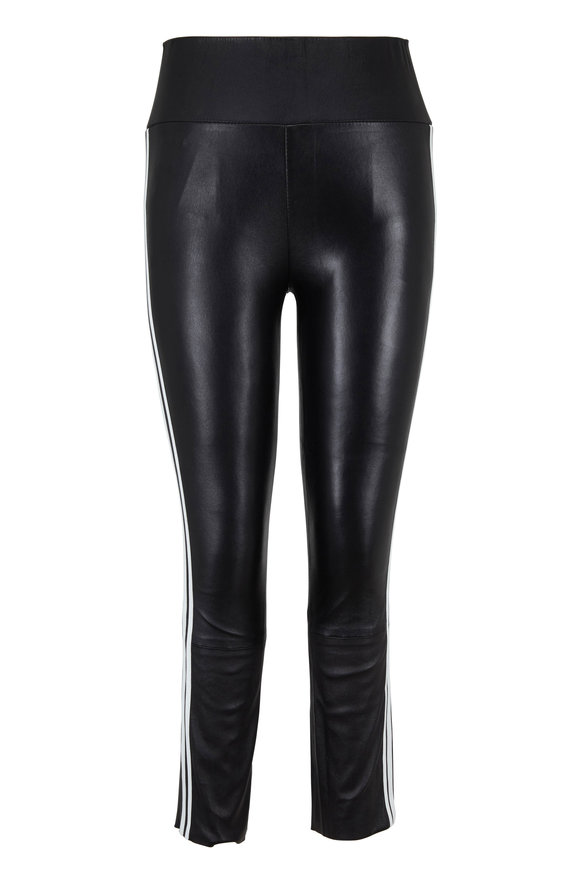 SPRWMN LLC Black Athletic Striped Capri Leather Legging