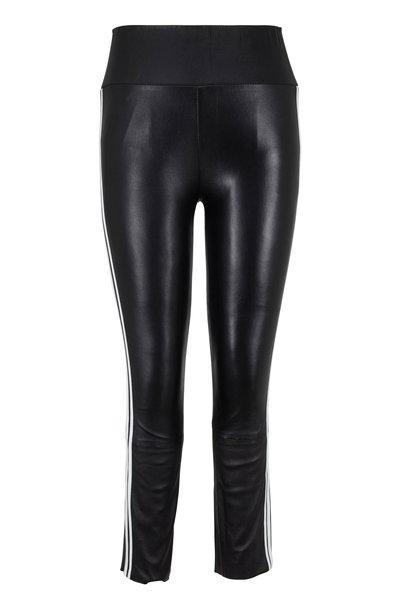 SPRWMN LLC - Black Athletic Striped Capri Leather Legging