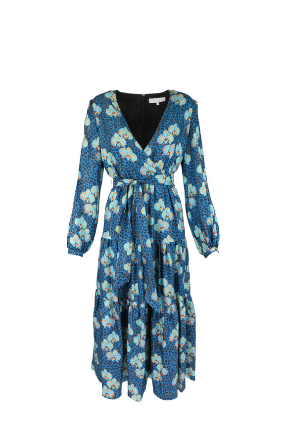 Borgo De Nor Turquoise Silk Leopard Floral Print Maxi Dress