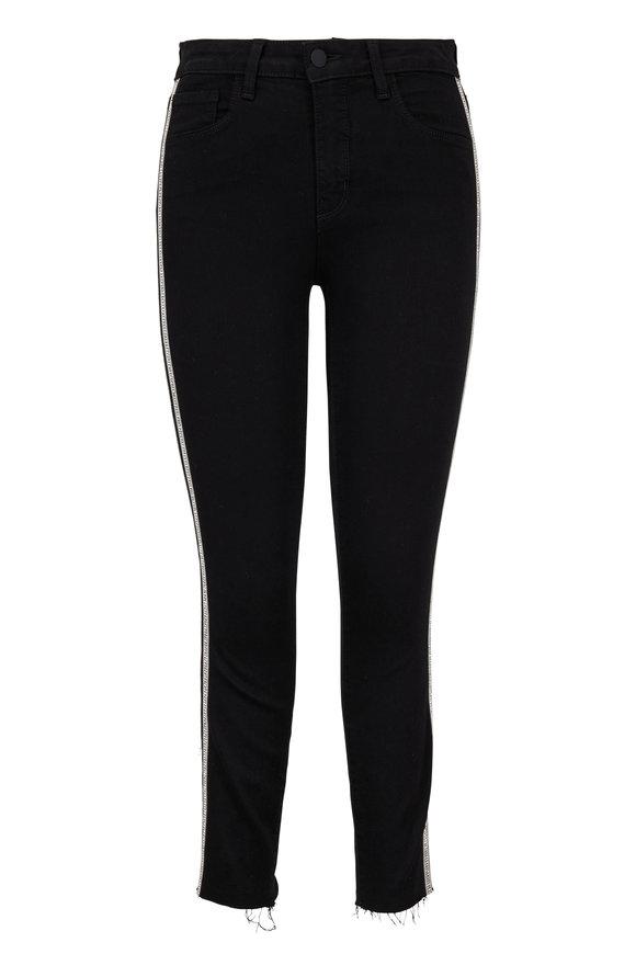 L'Agence Margot Black Sequin Tux Striped High-Rise Jean