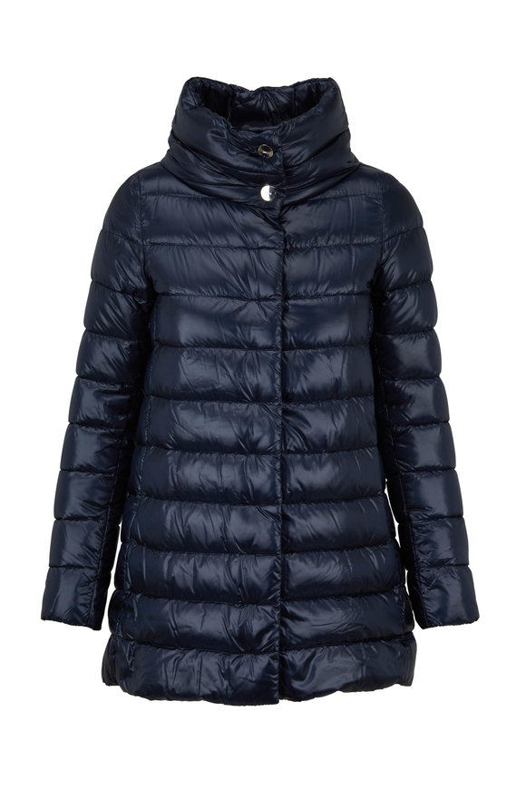 Herno Navy Hi-Low Hem Puffer Coat