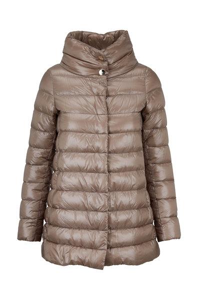Herno - Beige Hi-Low Hem Puffer Coat